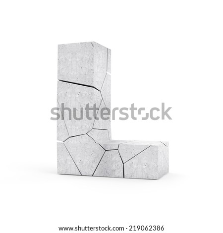 Broken Concrete Alphabet isolated on white background (Letter L) - stock photo