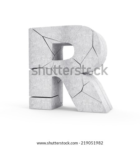 Broken Concrete Alphabet isolated on white background (Letter R) - stock photo
