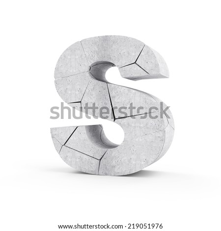 Broken Concrete Alphabet isolated on white background (Letter S) - stock photo