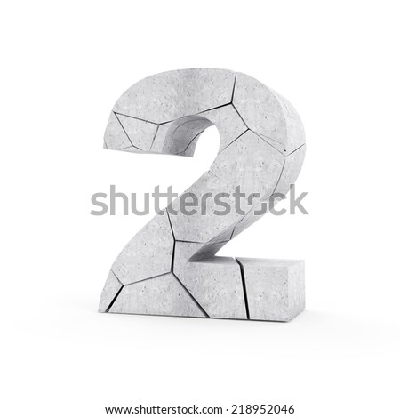 Broken Concrete Numbers isolated on white background (Number 2) - stock photo