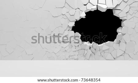 Broken Concrete Wall - stock photo