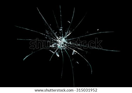broken cracked glass - stock photo