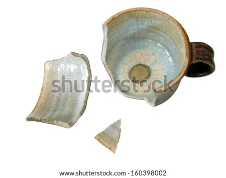 Broken cup, isolated - stock photo