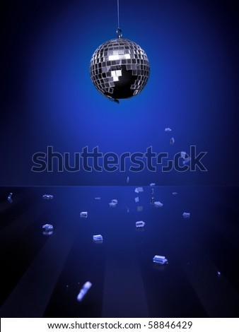 Broken disco-ball isolated on blue background with pieces of mirror falling down on a shiny glass floor - stock photo