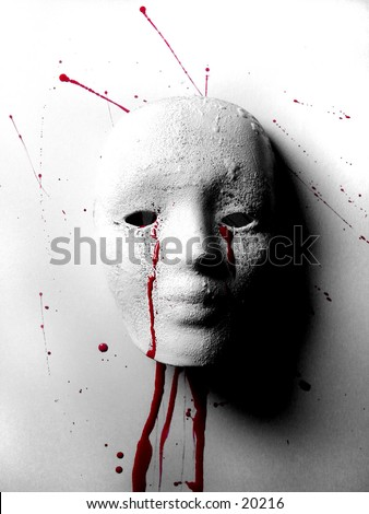 Broken Doll Battered Woman Mask - stock photo