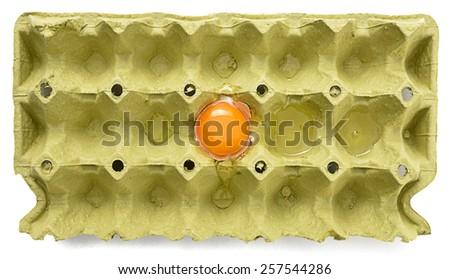 Broken Egg in Cardboard  - stock photo