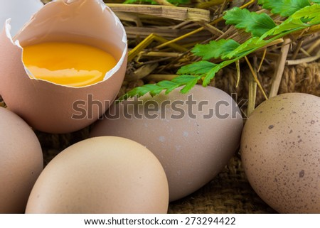 Broken egg on the perfect eggs with rice straw background - stock photo
