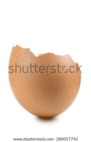 broken egg shell, closeup on white background - stock photo