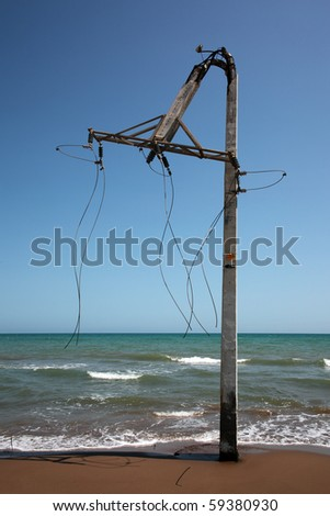 Broken electrical post in Tarragona, Spain
