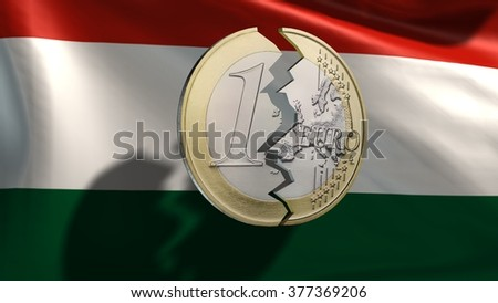 broken euro coin in front of Italy flag - stock photo