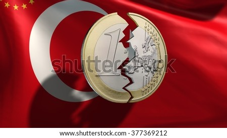 broken euro coin in front  Turkey flag - stock photo