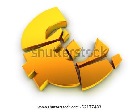 Broken euro sign. Financial problem concept. - stock photo