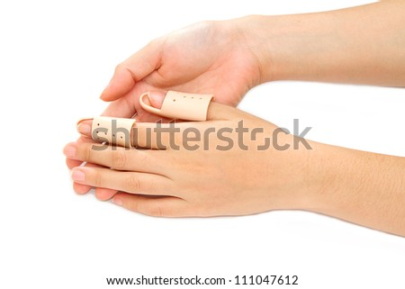 Broken Finger in a splint  on white background