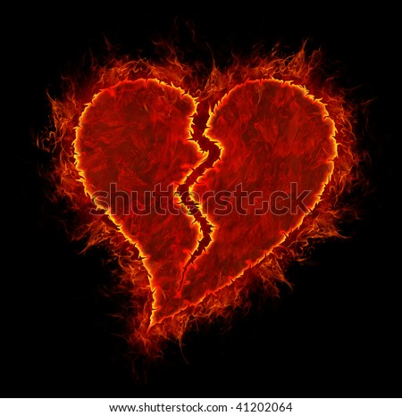 Broken fire heart symbol made of fire flames isolated on black background - stock photo