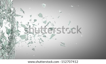 broken glass background. High resolution 3d render  - stock photo