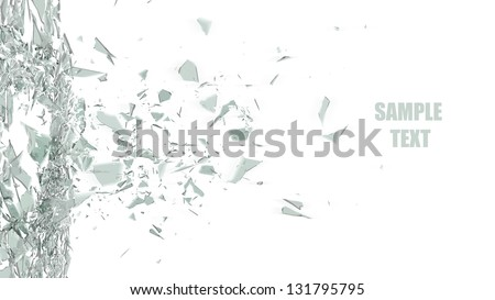 broken glass background isolated on white. High resolution 3d render