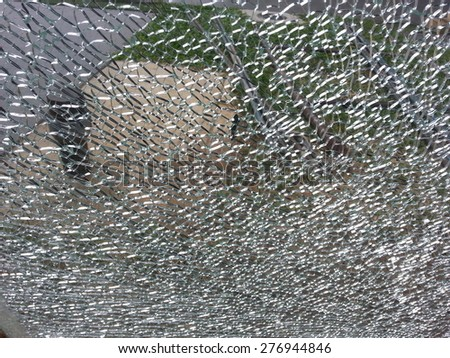 broken glass,background of cracked window - stock photo