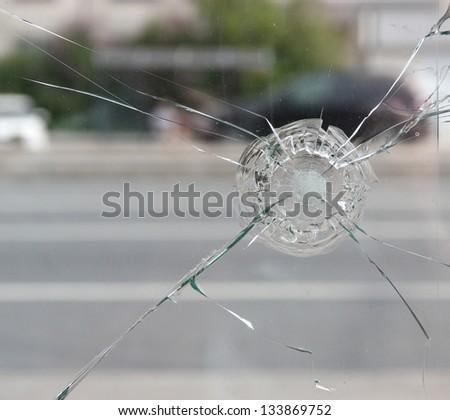 Broken glass close up. - stock photo