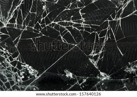 Broken glass. Close up studio shot - stock photo