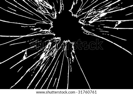 broken glass on black background - stock photo