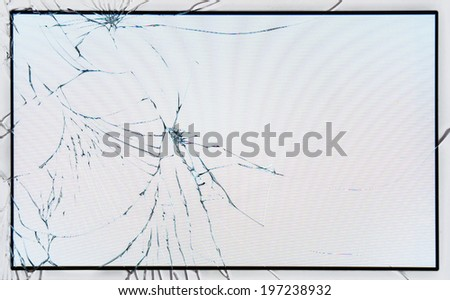 Broken glass on LCD screen - stock photo