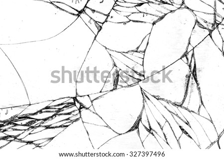 Broken glass texture, cracked in the glass. - stock photo