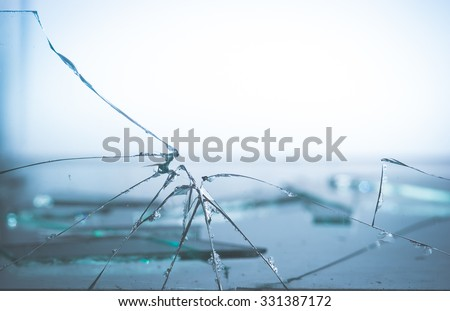broken glass,vintage color toned image - stock photo