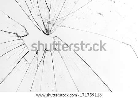 broken glass white background - stock photo