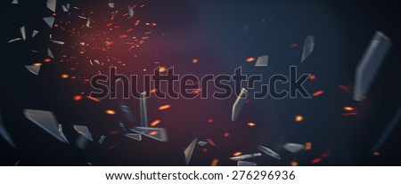 Broken glass with fire sparks background - stock photo