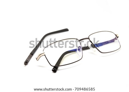 Broken Glasses On White Background Eye Stock Photo (Download Now ...