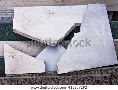 broken granite slab