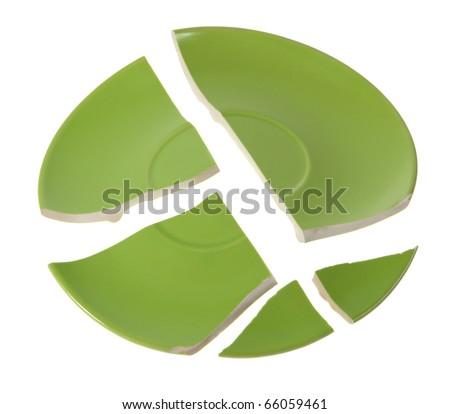 Broken green plate on white background - stock photo