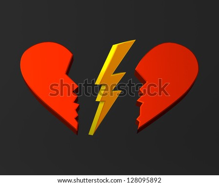 Broken heart and lightning