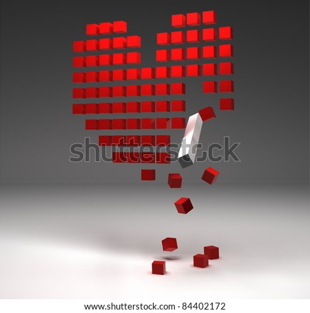 broken heart composed from red cubes - stock photo