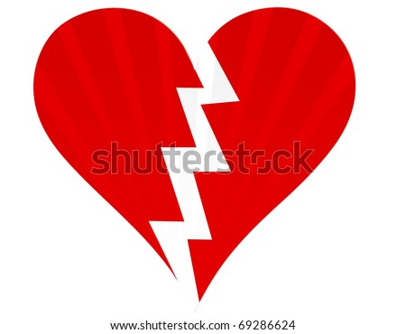 Broken heart isolated on white - stock photo