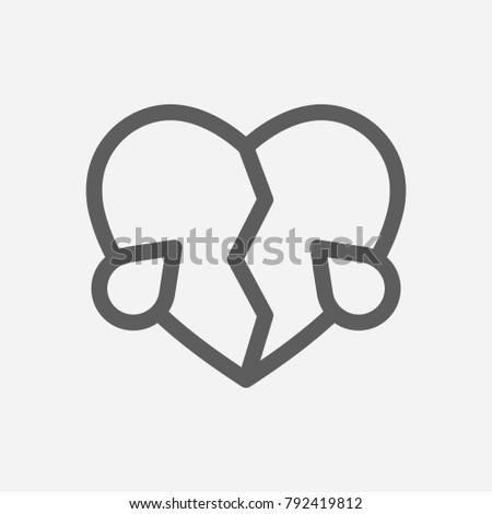 Broken Heart Love Icon Line Symbol Stock Illustration 792419812