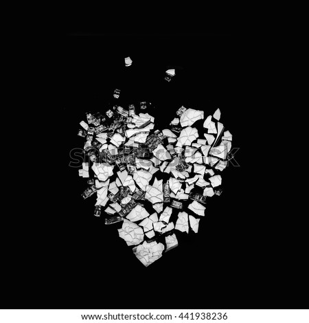 Monochrome Broken Heart Pen Ink Drawing Stock Vector ...
