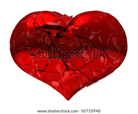Broken Heart - unrequited love, disease, death or pain. Isolated on white. ExtraLarge, 9000*7000 px - stock photo