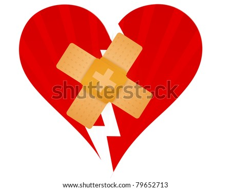 Broken heart with a band aid illustration design over white