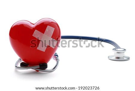 Broken heart with a stethoscope, isolated on white background