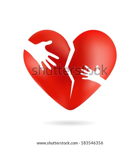 Broken heart with hands, isolated from white background - stock photo