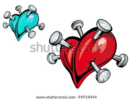 Broken heart with nails for t-shirt design. Vector version also available in gallery - stock photo