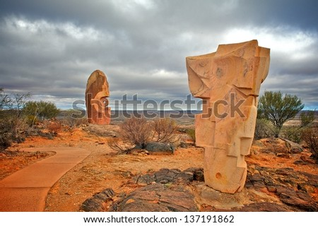 BROKEN HILL, AUSTRALIA - MARCH 31: The Broken Hill Sculpture Symposium Park on March 31, 2013 in Broken Hill, Australia. The park is one of the main tourist attractions of the Australian outback. - stock photo
