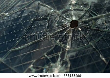 Broken holey wired security glass surface