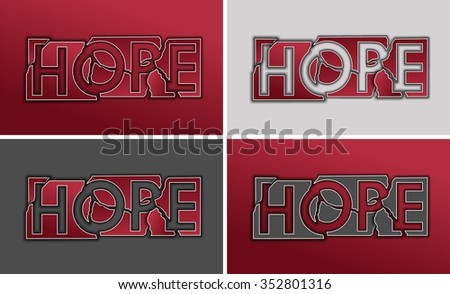 Broken Hope in the form of metal plates with the word. Red and gray texture set backgrounds. - stock photo