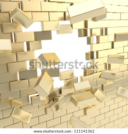 Broken into pieces golden brick wall with a copyspace hole in center - stock photo