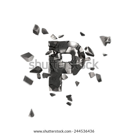broken iron alphabet P - stock photo