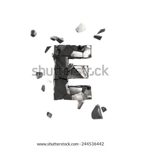 broken iron letter E - stock photo