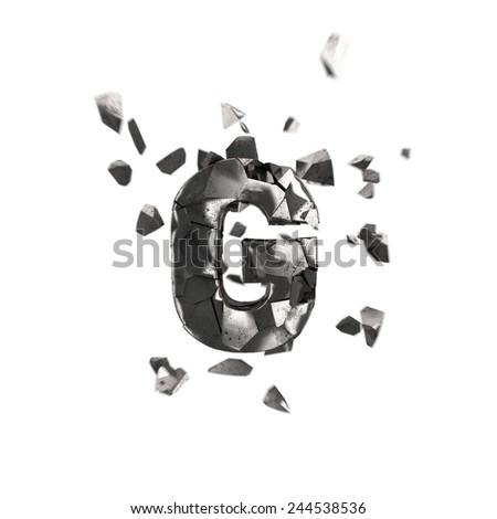 broken iron letter G - stock photo