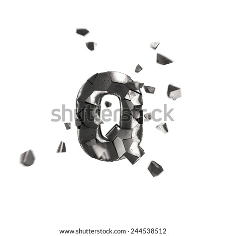 broken iron letter Q - stock photo